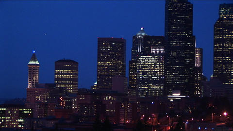 Long-shot of the Seattle skyline at night Footage