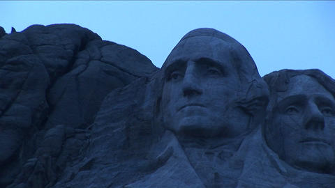 A serene, focused George Washington looks out from Mt. Rushmore Footage