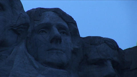 Thomas Jefferson is flanked by George Washington on his left and Theodore Roosevelt on his right in Footage