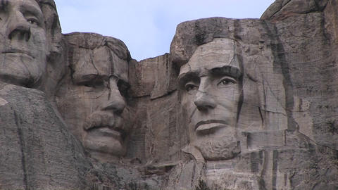 Presidents Theodore Roosevelt and Abraham Lincoln are featured in this detail of Mt. Rushmore Footage