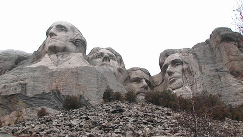 A worm's eye montage of Mt. Rushmore from unusual... Stock Video Footage