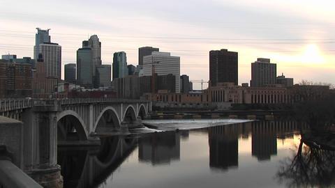 Medium shot of Minneapolis skyline Stock Video Footage