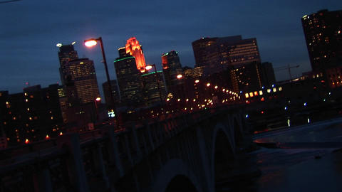 Medium wide shot of night traffic over Mississippi River... Stock Video Footage