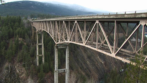 Medium shot of a bridge over a canyon Stock Video Footage