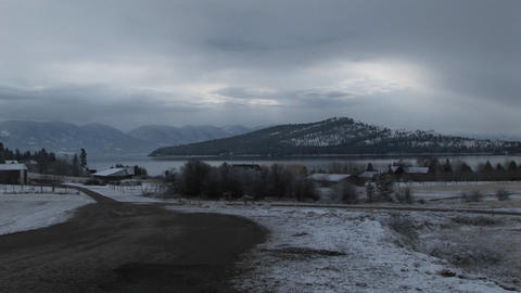A beautiful winter landscape in the mountains painted in... Stock Video Footage