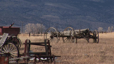 A scenic look at old wagons and other vintage equipment... Stock Video Footage