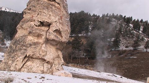 Tilt-shot of an eroded limestone cone in Yellowstone... Stock Video Footage
