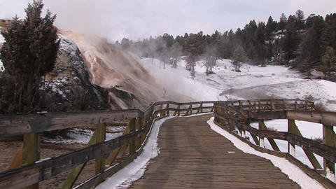 A tourists' walkway passes a number of hot springs in... Stock Video Footage