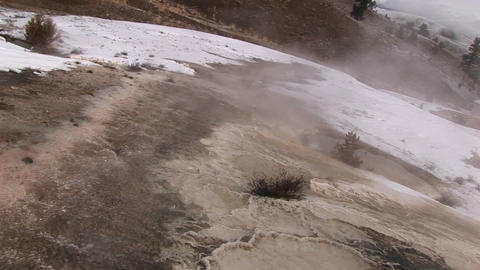 Medium shot of a geothermal area Stock Video Footage