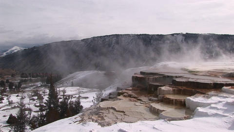 A look at hot springs' limestone terraces in winter with... Stock Video Footage