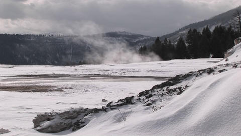 The camera captures the wind blowing the steam rising... Stock Video Footage