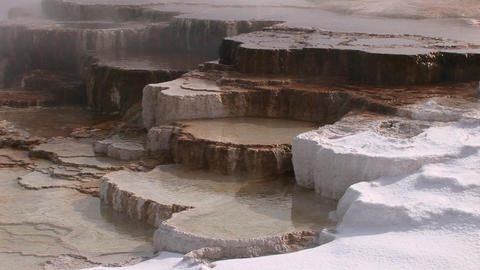 A colorful close-up look at a hot springs limestone... Stock Video Footage