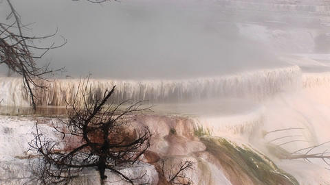 Limestone deposits from a hot springs terrace create an... Stock Video Footage