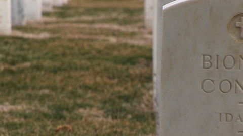 A close-up of individual headstones indicates the men and... Stock Video Footage