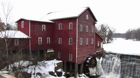 A classic old mill with waterwheel Footage