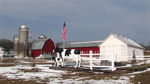 Medium-shot of a dairy farm in winter Stock Video Footage