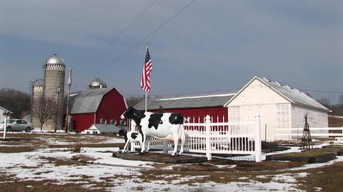 Medium-shot of a dairy farm in winter Footage