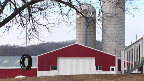 A tire swing hangs from a tree with a bright red barn and... Stock Video Footage