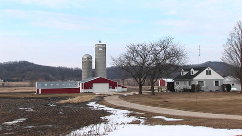 A picturesque farm landscape in winter Stock Video Footage