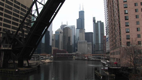 Medium shot of a draw bridge in Chicago Stock Video Footage