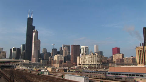 Wide shot of Chicago's skyline and railroad system Footage