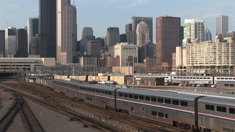 trains head into downtown Chicago on separate tracks from... Stock Video Footage