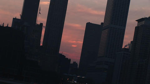 Close-up of the Chicago skyline at sunset Stock Video Footage