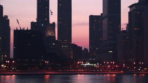Chicago's Lakeshore Drive is busy with traffic during golden-hour Footage