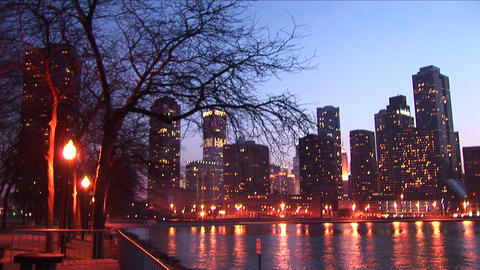 Golden-hour view of downtown skyscrapers from Chicago's... Stock Video Footage