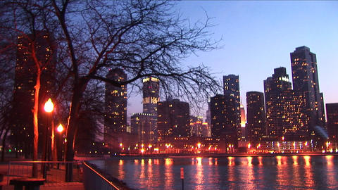 Golden-hour view of downtown skyscrapers from Chicago's lakefront Footage