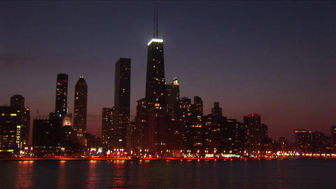 A post-card perfect view of the Chicago skyline at night Footage