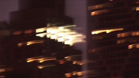 Abstract swish-pans of downtown Chicago at night Stock Video Footage