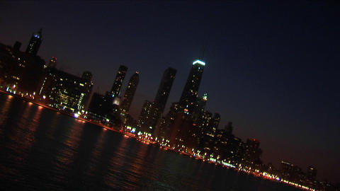 A sweeping angled view of Chicago at night from the... Stock Video Footage