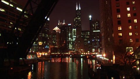A beautiful night shot of Chicago's downtown buildings from across the water Footage