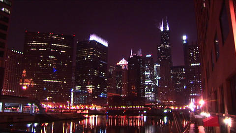Chicago's skyline glows at night Stock Video Footage