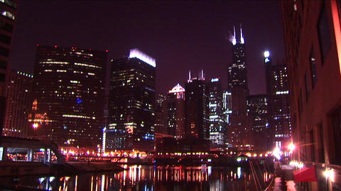 Chicago's skyline glows at night Footage