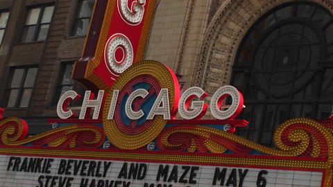 The marquee of Chicago's historic landmark, Chicago Theater Stock Video Footage