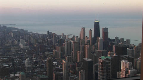 An bird's eye view of Chicago's downtown skyline and... Stock Video Footage