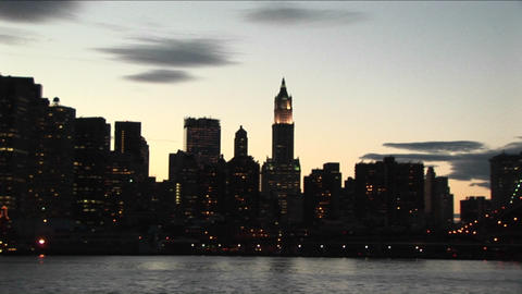 The camera pans from the south tip of Manhattan to the... Stock Video Footage