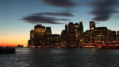 The camera zooms in and out of the New York skyline and utilizes special effects that reflect the dr Footage