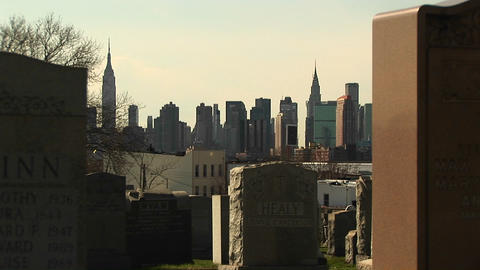 The New York City skyline is framed between two... Stock Video Footage