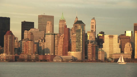A spectacular look at a golden New York skyline on a bright day Footage