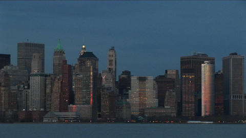 A dramatic pan of the New York skyline during the... Stock Video Footage
