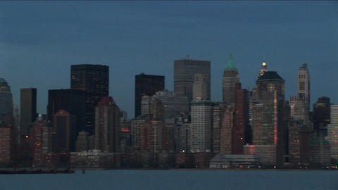 A dramatic pan of the New York skyline during the golden-hour Footage