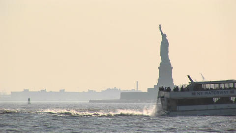 Passenger ferries pass each other in New York Harbor with... Stock Video Footage