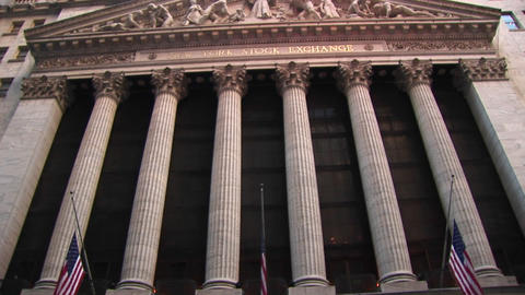 A worms-eye view of the exterior of the Stock Exchange... Stock Video Footage