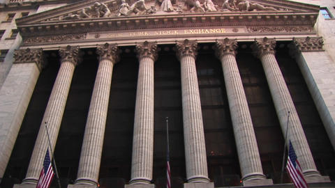 A worms-eye view of the exterior of the Stock Exchange Building in New York City Footage