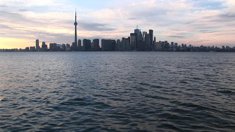 An extreme long-shot of the Toronto skyline at the... Stock Video Footage