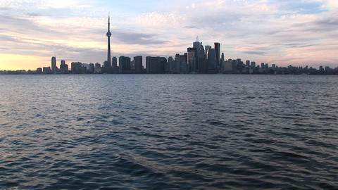 An extreme long-shot of the Toronto skyline at the golden-hour Footage