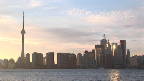 The sun reflects off several buildings in this Toronto skyline shot Footage